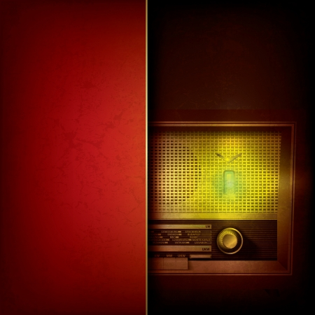 retro radio: abstract grunge red background with retro radio