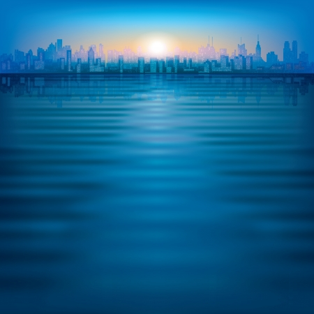 abstract background with silhouette of city and sunrise Stock Vector - 17459253