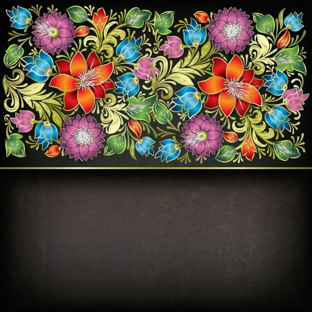 abstract grunge gray background with color floral ornament Stock Vector - 17459296