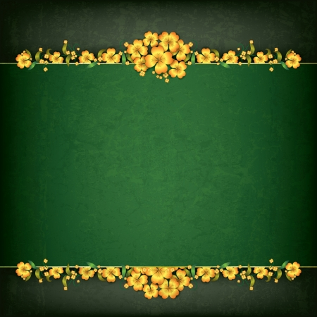 leave: abstract green grunge background with yellow floral ornament