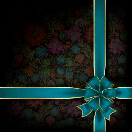abstract grunge background with blue gift ribbon and floral ornament Stock Vector - 17554327