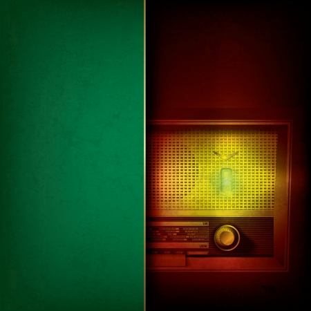abstract grunge green background with retro radio Stock Vector - 17554317