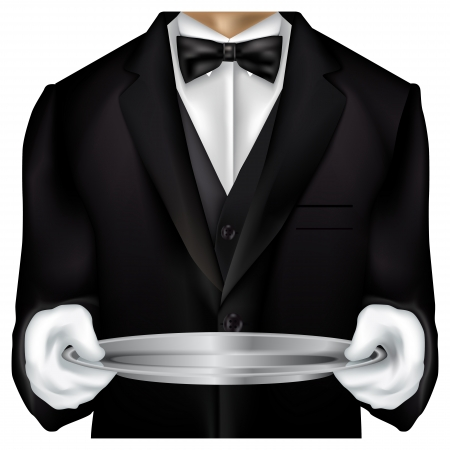 Mayordomo torso vestido con esmoquin aislado en blanco Ilustración de vector
