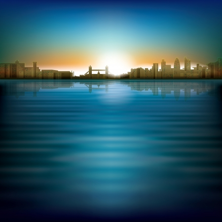 abstract city: abstract background with sunrise and silhouette of London Illustration