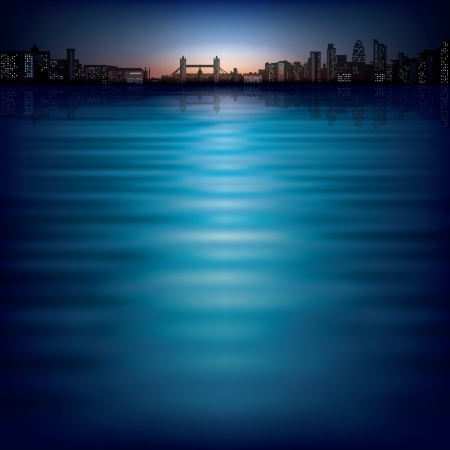 horizon reflection: abstract background with sunset and silhouette of London Illustration