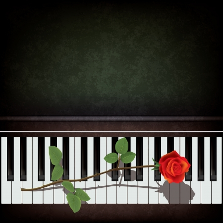 piano key: abstract grunge background with rose on piano