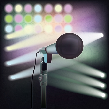 abstract art background with microphone on music stage Stock Vector - 18095947