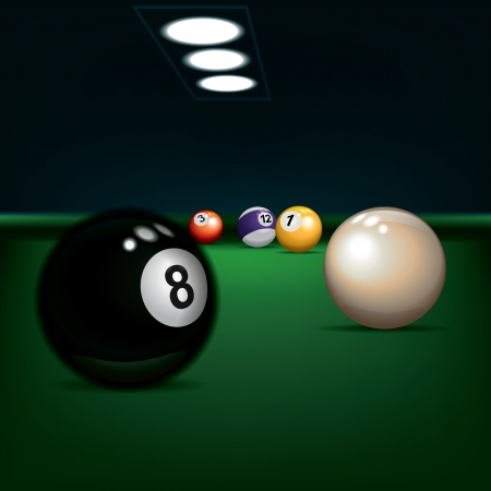 snooker room: illustrazione di gioco con palle da biliardo su verde