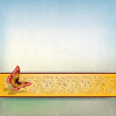 abstract grunge background with butterfly and yellow floral ornament Stock Vector - 18724409