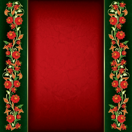 abstract grunge red background with floral ornament on green Stock Vector - 18724412