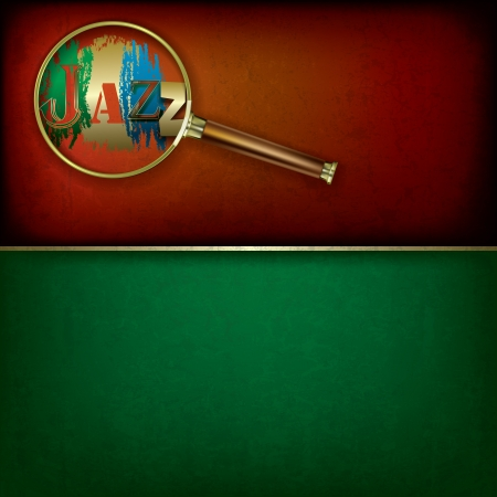 Abstract grunge music background with Magnifying glass and logo jazz Stock Vector - 18834642