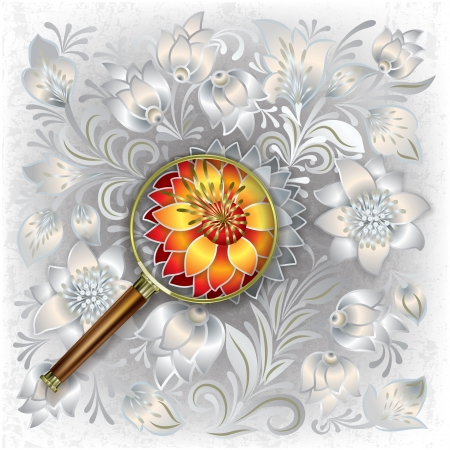 abstract grunge white background with magnifying glass and floral ornament Stock Vector - 18834644