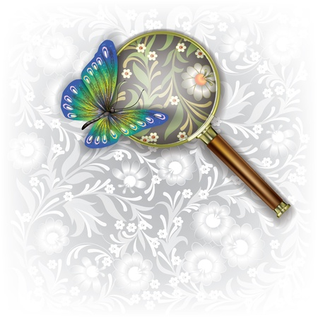 Floral background with Magnifying glass and butterfly Stock Vector - 18834630