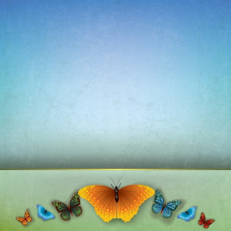 butterflies abstract: abstract grunge blue background with color butterflies