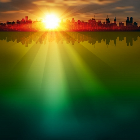 horizon reflection: abstract background with silhouette of city and sunrise