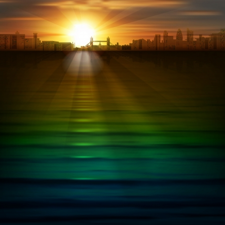 abstract background with silhouette of London and sunrise Vector