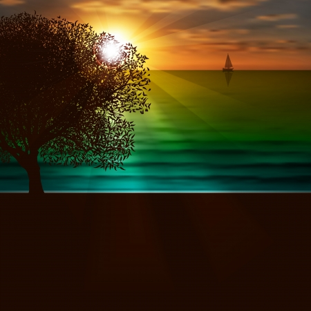 Abstract nature background with sea sunrise and tree Vector