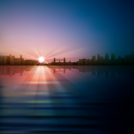 london night: abstract sunrise background with silhouette of London