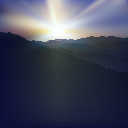 abstract spring background with sunset and mountains Vector