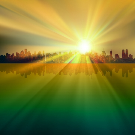 abstract background with silhouette of New York and sunrise Vector