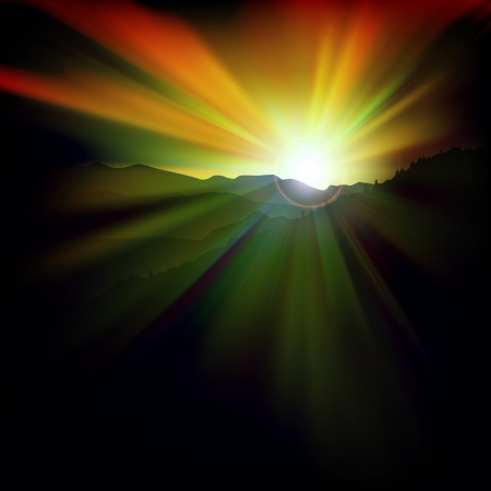 abstract dark background with sunset and mountains Vector