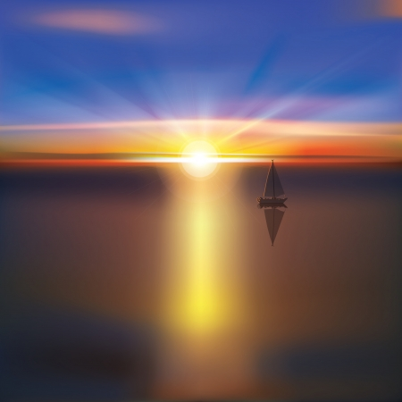 abstract ocean background with bright sunrise and yacht Vector