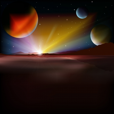 abstract background with mountain sunrise and stars Vector