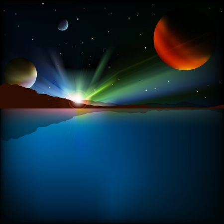 abstract background with mountains sunrise and stars Vector