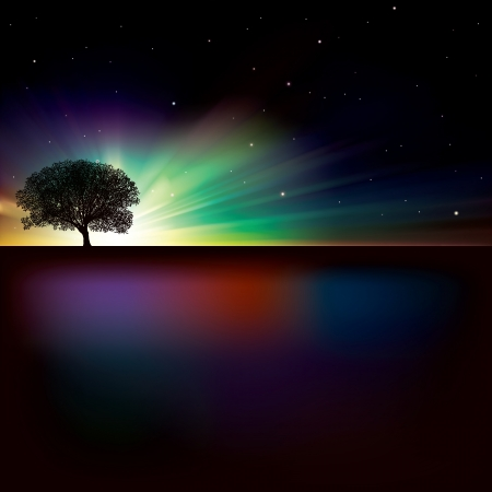 starfield: abstract nature background with sunrise and tree