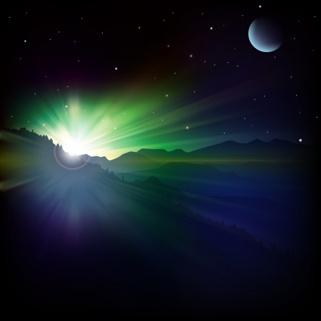 abstract stars background with mountains and sunrise Vector