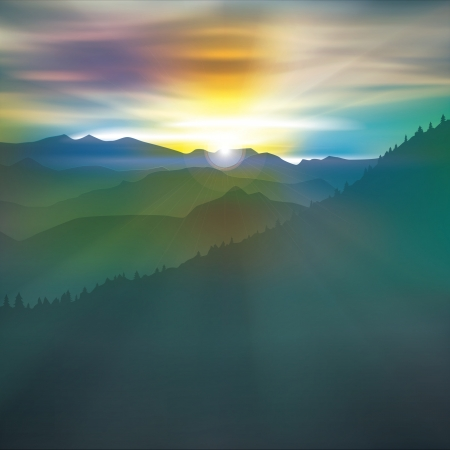 abstract morning background with mountains and sunrise Vector