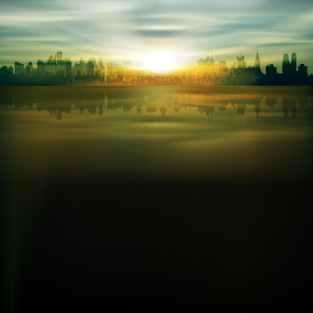 abstract nature background with silhouette of New York and sunrise Çizim