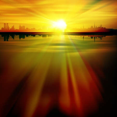 abstract nature background with silhouette of Tallinn and sunrise Vector