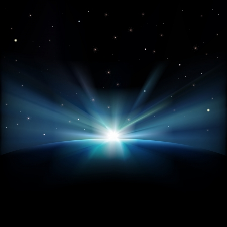 starfield: abstract space background with stars and sunrise Illustration