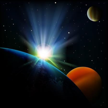 starfield: abstract space background with sunrise and planets