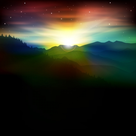 abstract spring background with mountains and sunrise Vector