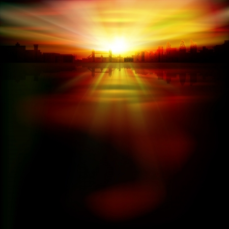 london night: abstract background with silhouette of London and red sunrise