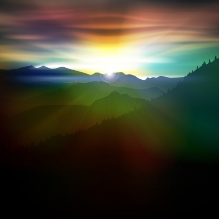 starfield: abstract dark background with mountains and sunrise