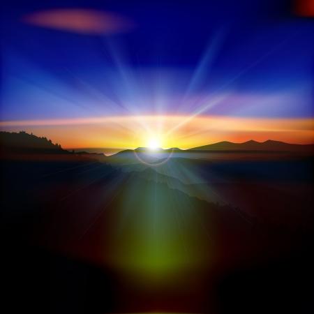 abstraktní pozadí přírody s horami a východem slunce