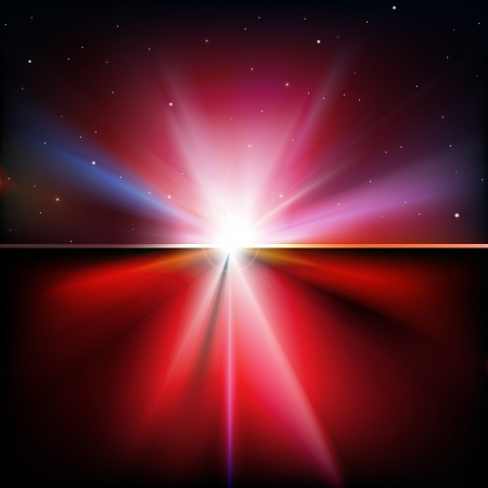 sunbeams background: abstract red background with stars and sunrise