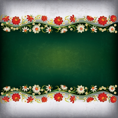 leave: abstract grunge green gray background with floral ornament Illustration
