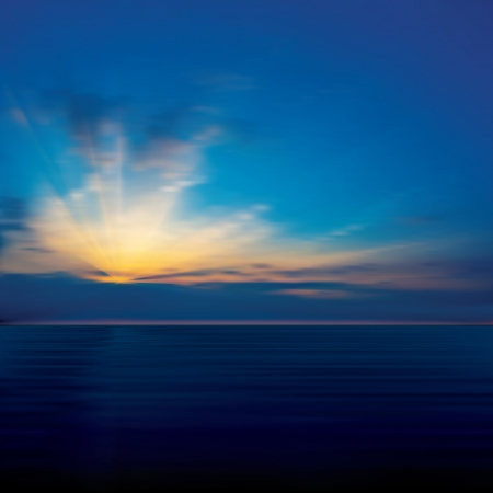 horizon over water: abstract blue background with clouds and sea sunrise Illustration