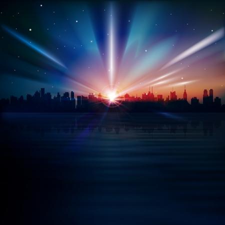 ニューヨークと日の出のシルエットと抽象的な青い背景  イラスト・ベクター素材