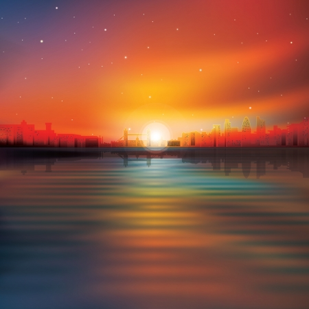 abstract red background with silhouette of London and sunrise Vector