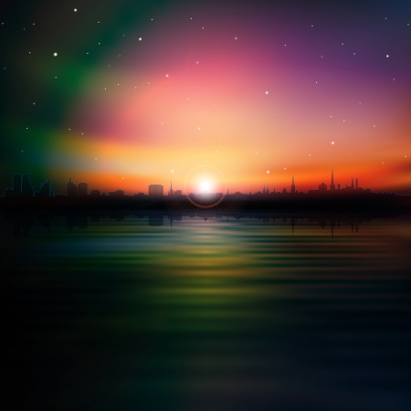 abstract stars background with silhouette of Tallinn and sunrise Vector