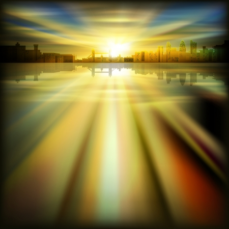 abstract background with silhouette of London and dold sunrise Vector