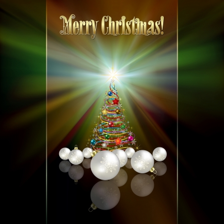 abstract green greeting with Christmas tree and decorations Vector