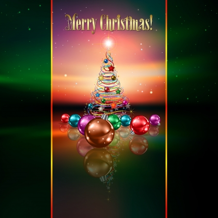 abstract greeting with Christmas tree and decorations on stars background Vector