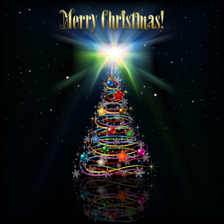 abstract greeting with Christmas tree on black background Vector