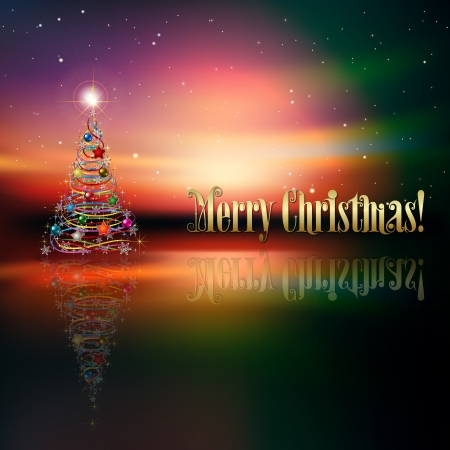 abstract greeting with Christmas tree on stars background Vector